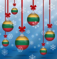 Christmas background flags Lithuania
