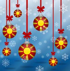 Christmas background flags Macedonia