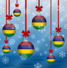 Christmas background flags Mauritius