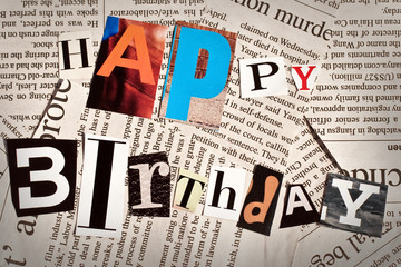 Happy birthday collage with newspaper letters