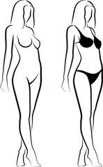sketch of  naked woman and woman in bikini