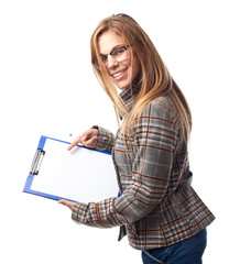 young cool woman showing a piece of paper