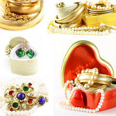 collage of various jewelry of gold and precious stones