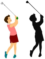 female golfer with driver