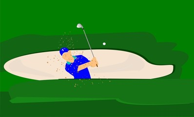 golfer in sand trap  frontal view