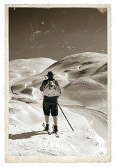 Vintage photo with old skier