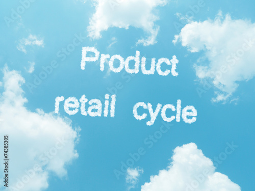 Poster cloud words with design on blue sky background