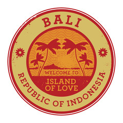 Stamp or label with the name of Bali Island, vector