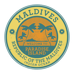 Stamp or label with the name of Maldives Islands, vector