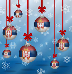 Christmas background flags Serbia