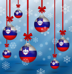 Christmas background flags Slovenia