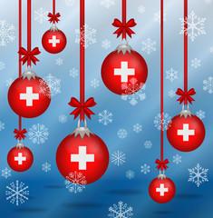 Christmas background flags Switzerland