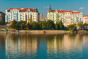Picturesque view of the Vltava River and Old Town in Prague, Cze