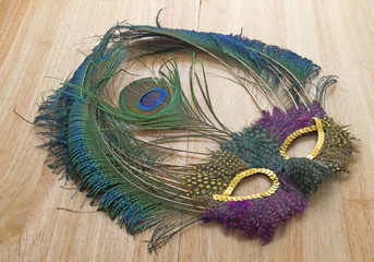 Mardi Gras Feather Mask Dusty On Table Vibrant