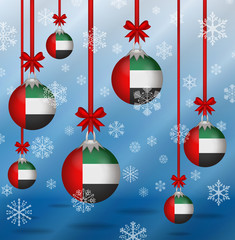 Christmas background flags United Arab Emirates