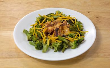 Salmon Broccoli Cheese Plate Wood Table Top