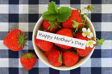 Happy Mother's Day with bowl of strawberries