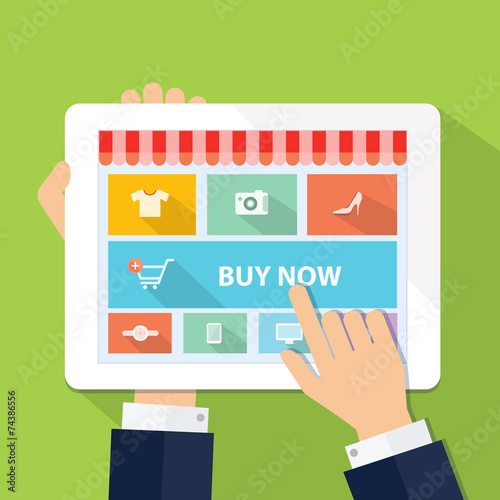 vector business online shopping and e-marketing on teblet - 74386556