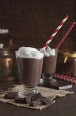 Hot chocolate in glass with whipped cream