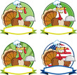 Turkey Chef Cartoon Labels. Collection Set