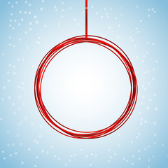 new year christmas red ball with snow