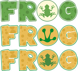 Skin Frog Text Cartoon Design. Collection Set