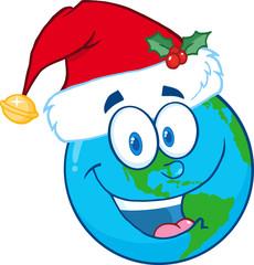 Santa Hat On A Earth Cartoon Mascot Character