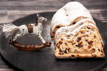 Christmas stollen and rocking horse