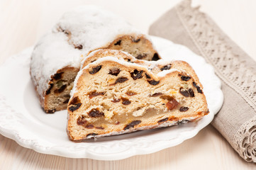 Christmas stollen sliced