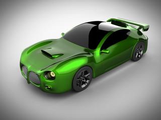 green luxury brandless sport car on white background