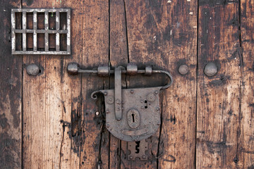 Detail of an old door and lock in colonial Cartagena (Colombia)