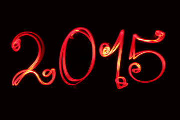 Happy new year greeting 2015 writen by red light