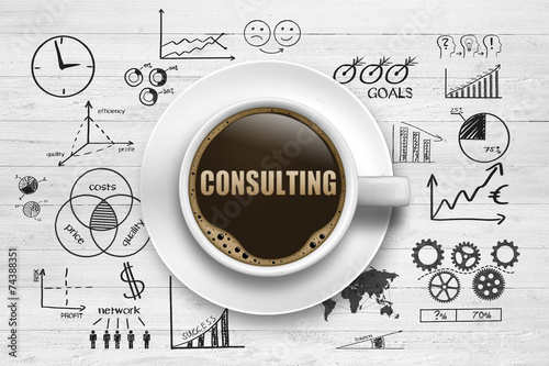 Foto op Canvas Koffie Consulting