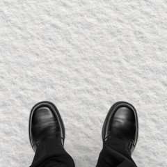 Business Man Shoes in Snow