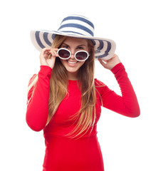 young cool woman with sunglasses and hut