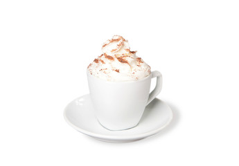 Cappuccino with whipped cream on white background