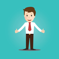 Vector of thumbs up  businessman