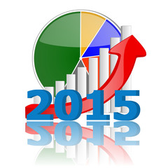 2015 business graph chart with reflection