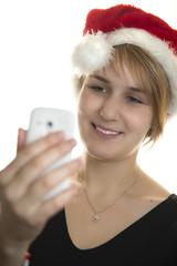 Weihnachtsfrau macht ein Selfie