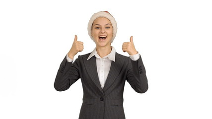Young beautiful business woman showing copy space and showing