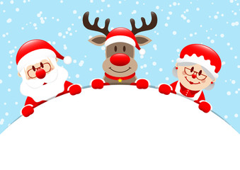 Santa, Rudolph & Mrs. Santa Round Banner Snow Blue
