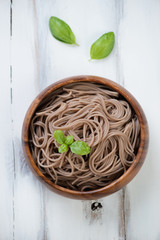 Traditional asian cuisine – boiled noodles from buckwheat flour