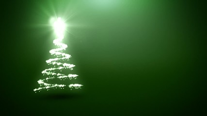 Christmas tree animation with green background