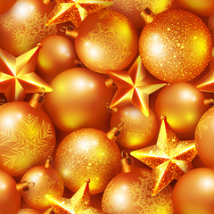 Seamless background with shiny Christmas balls and stars