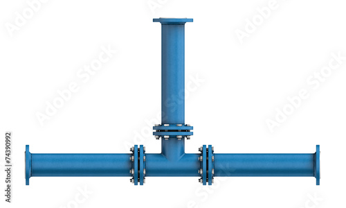 Metal pipe isolated on a white background - 74390992
