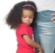 Sad afroamerican girl hugging an adult