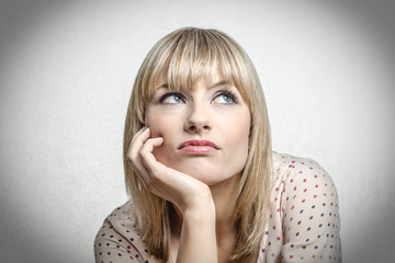 Blonde woman is unhappy