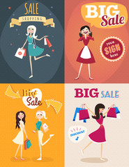 Set of sale posters in retro style