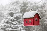 Fototapety Bird house with snow in winter