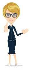 Stock Vector illustration of a smiling cartoon business woman or